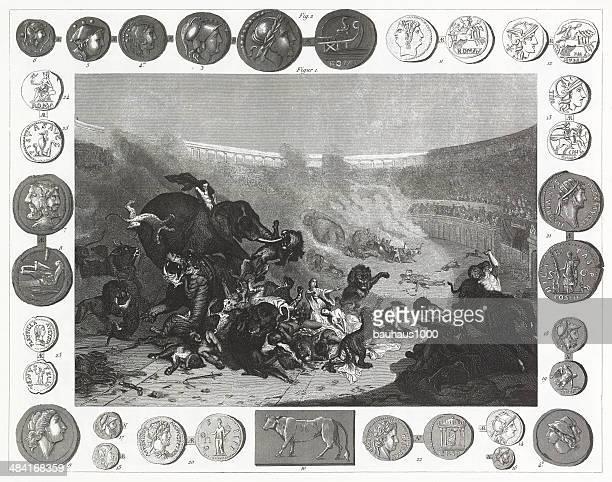 roman colisuem and coins - coliseum rome stock illustrations, clip art, cartoons, & icons