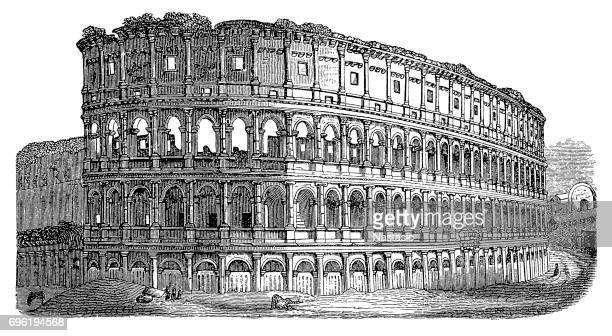 roman colosseum - rome italy stock illustrations, clip art, cartoons, & icons