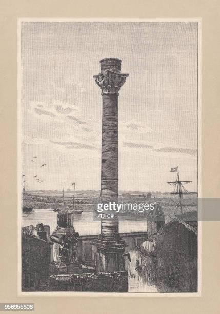 1893 年に公開されたイタリア、ブリンディシ、木の彫刻のローマの列 - ブリンディシ点のイラスト素材/クリップアート素材/マンガ素材/アイコン素材