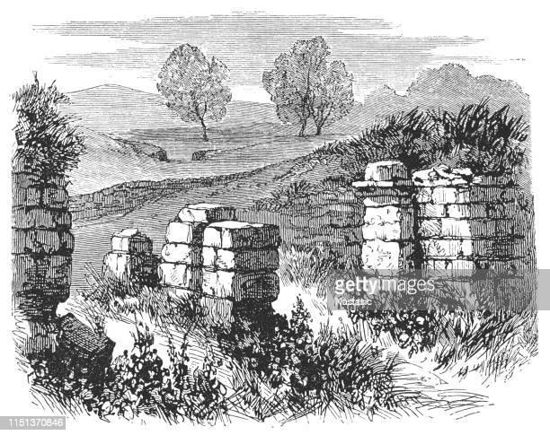 roman east gate ,ruin birdoswald roman fort - hadrian's wall - northumberland stock illustrations, clip art, cartoons, & icons