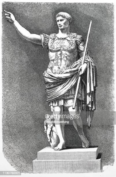 roman emperor augustus statue illustration 1873 'the earth and her people' - emperor stock illustrations, clip art, cartoons, & icons