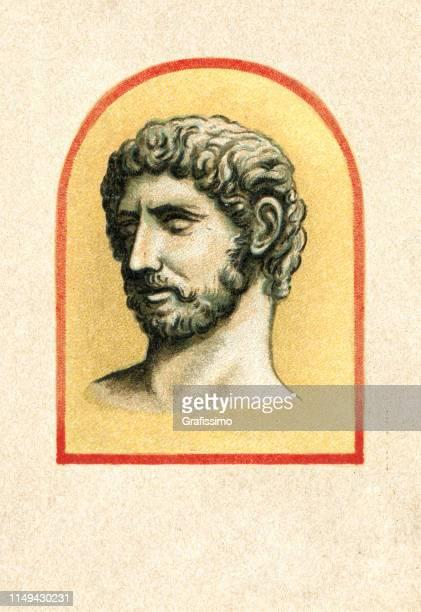 roman emperor hadrian augustus portrait - northeastern england stock illustrations, clip art, cartoons, & icons