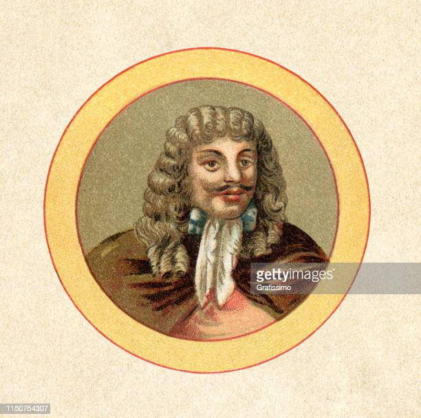 roman emperor leopold i portrait - fine art portrait stock illustrations, clip art, cartoons, & icons