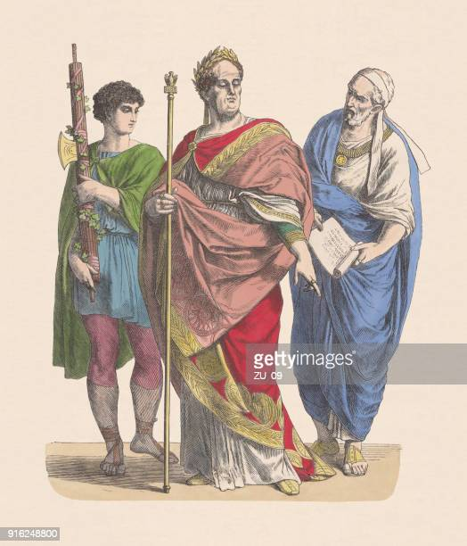 Roman emperor, lictor and nobleman, hand-colored wood engraving, published c.1880