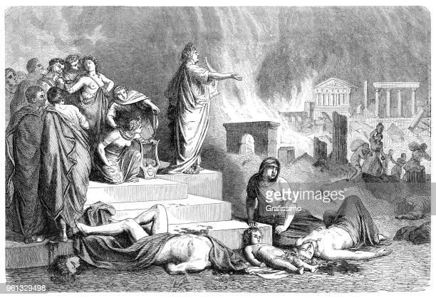 roman emperor nero burning rome illustration 1880 - rome italy stock illustrations, clip art, cartoons, & icons