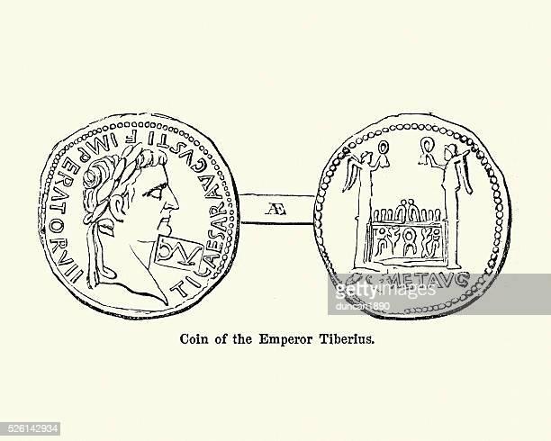 roman emperor tiberius - emperor stock illustrations