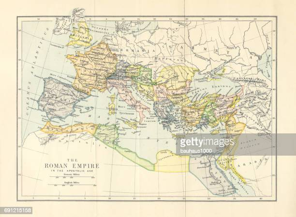 Roman Empire in the Apostolic Age Map, Engraving, 1892