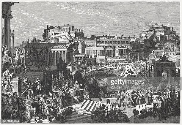 roman forum at the time of diocletian, published in 1878 - roman forum stock illustrations