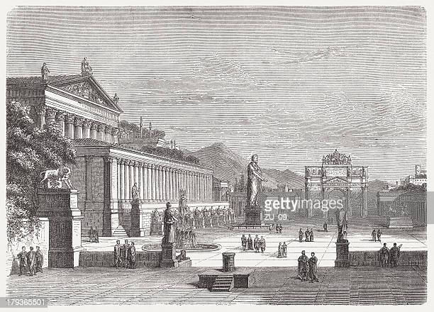 roman forum, visual reconstruction, wood engraving,published in 1876 - roman forum stock illustrations