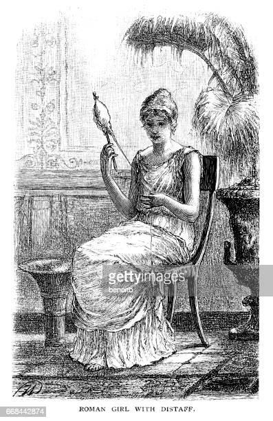 roman girl with distaff - roman stock illustrations, clip art, cartoons, & icons