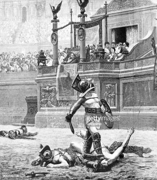 roman gladiators fighting in arena - gladiator stock illustrations, clip art, cartoons, & icons