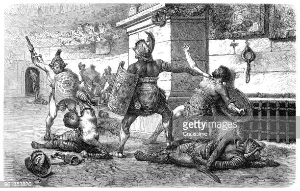 Roman gladiators fighting in coliseum illustration 1880