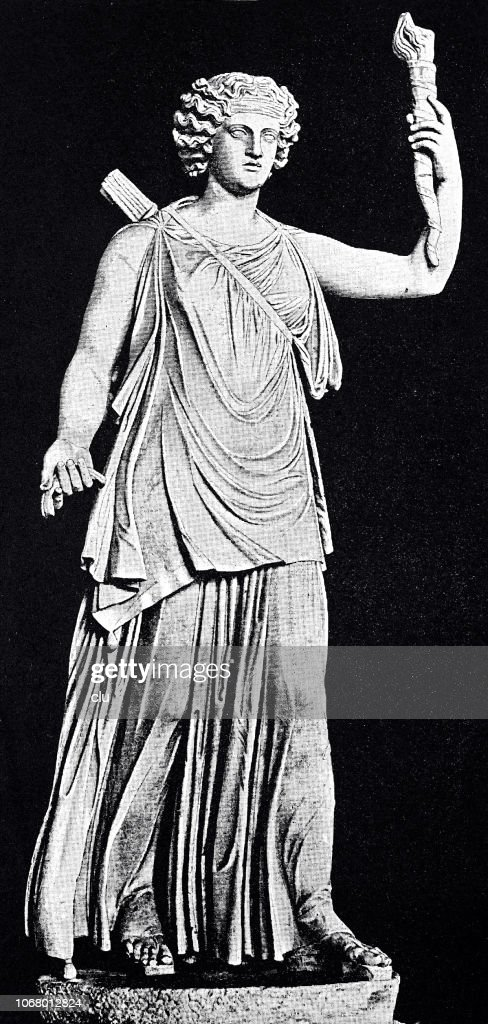 Roman goddess of hunting, Diana, with the torch as goddess of the moon : stock illustration