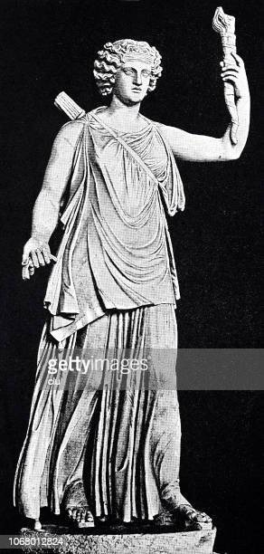 roman goddess of hunting, diana, with the torch as goddess of the moon - roman goddess stock illustrations, clip art, cartoons, & icons