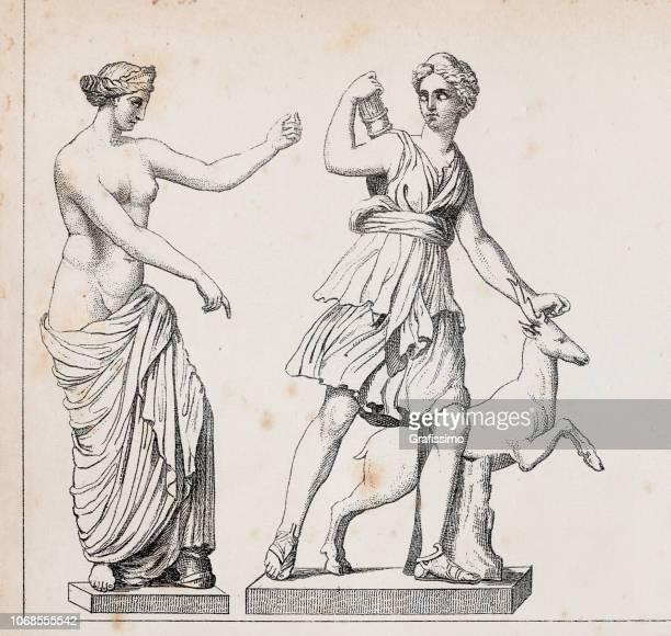 roman goddess venus of capua or aphrodite and diana the huntress - aphrodite stock illustrations, clip art, cartoons, & icons