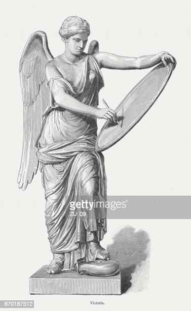 roman goddess victoria, 1st century, published in 1884 - goddess stock illustrations, clip art, cartoons, & icons