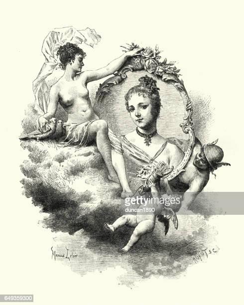 roman gods mercury, venus, cupid surrounding a young woman - aphrodite stock illustrations, clip art, cartoons, & icons