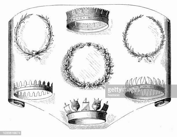 roman honorary crowns - corona zon stock illustrations
