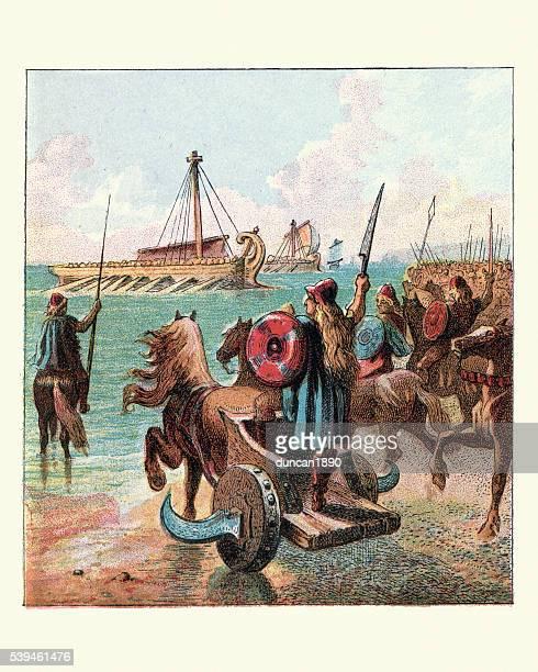 ilustrações, clipart, desenhos animados e ícones de roman invasão da grã-bretanha - roman