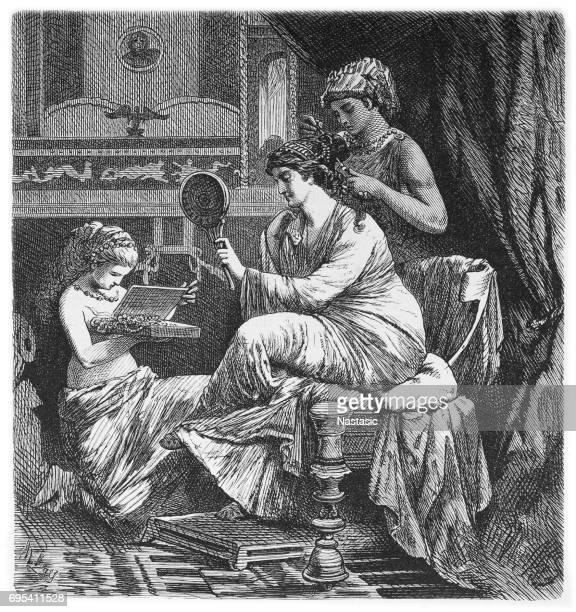 roman lady at her toilet - roman stock illustrations, clip art, cartoons, & icons