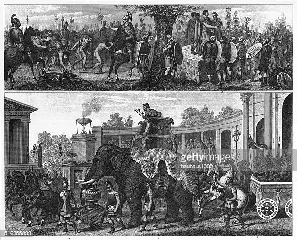 roman military ceremonies and processions - coliseum rome stock illustrations, clip art, cartoons, & icons