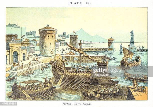 roman military ships engraving - fossil stock illustrations, clip art, cartoons, & icons