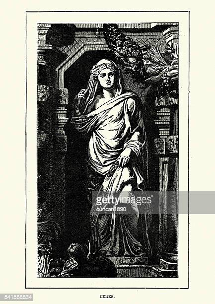 roman mythology - ceres goddess of agriculture - roman goddess stock illustrations, clip art, cartoons, & icons