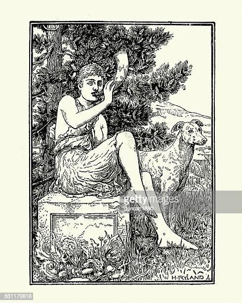 roman mythology, diana goddess of the hunt - roman goddess stock illustrations, clip art, cartoons, & icons