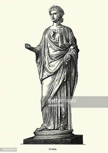 roman mythology - flora goddess of flowers - roman goddess stock illustrations, clip art, cartoons, & icons