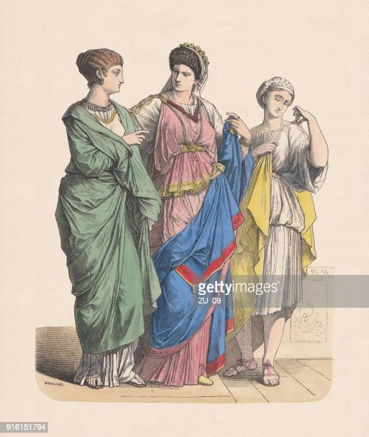 Roman nobility women and slave, hand-colored wood engraving, published c.1880