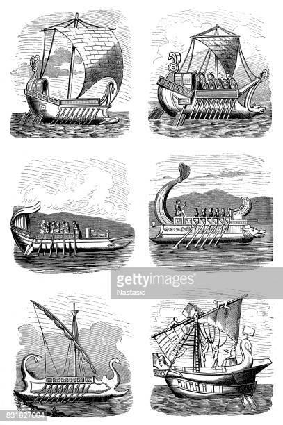 ilustrações, clipart, desenhos animados e ícones de navios romanos - roman