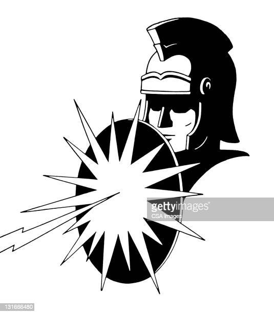roman soldier and shield - army soldier stock illustrations