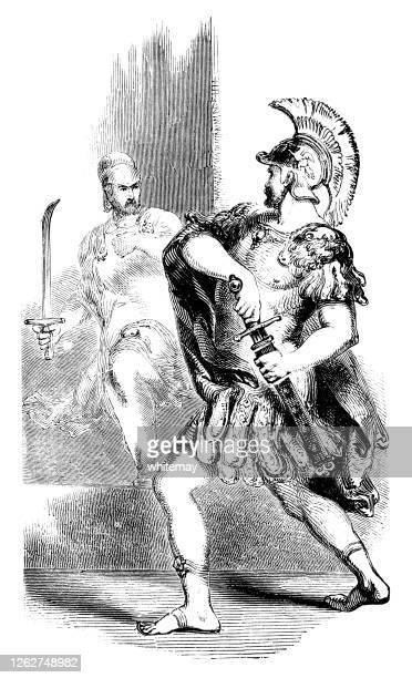 roman soldier drawing his sword - army helmet stock illustrations
