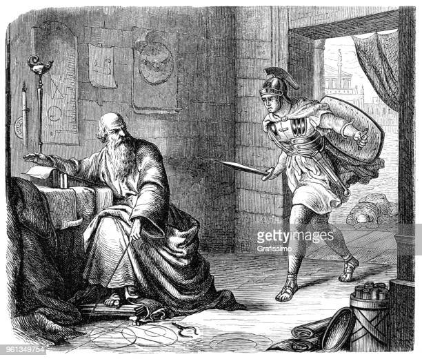 Roman soldier killing greek mathematician Archimedes