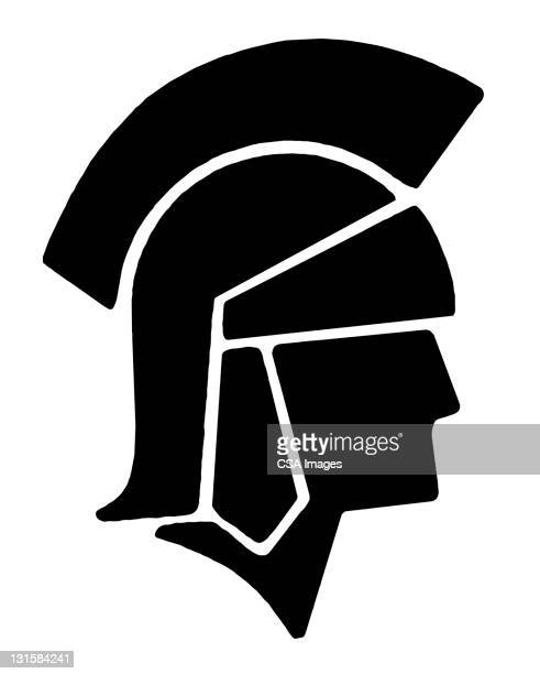 roman soldier silhouette - helmet stock illustrations