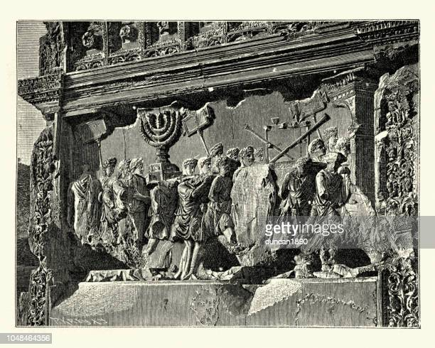 roman soldiers carying away loot from the sack of jerusalem - roman forum stock illustrations