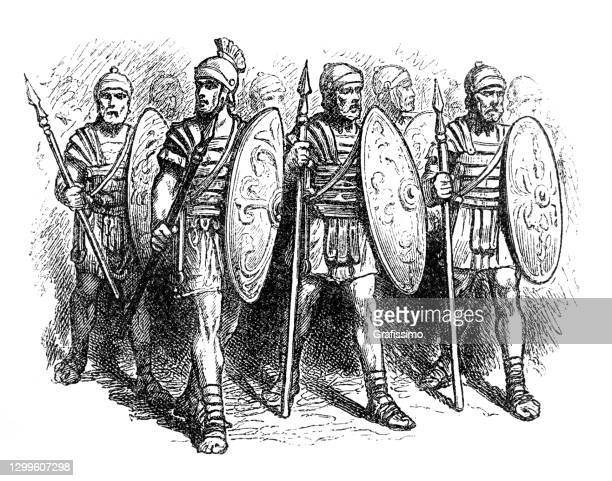 roman soldiers in military uniform 4th century - army helmet stock illustrations