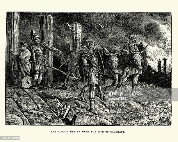 Roman Soldiers ploughing the ruins of Carthage