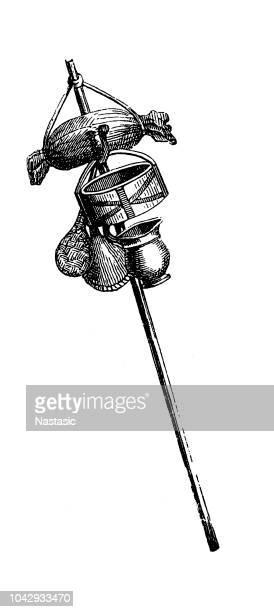 roman soldiers stuff carrying pole - rome ga stock illustrations