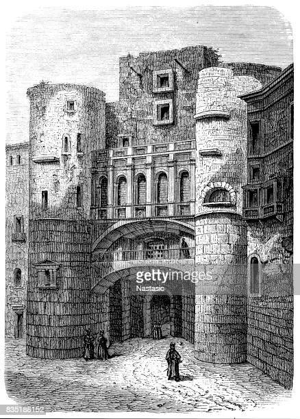 roman walls of barcelona - iberian peninsula stock illustrations, clip art, cartoons, & icons