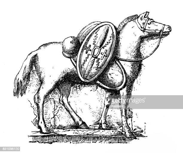 ilustrações, clipart, desenhos animados e ícones de cavalo de guerreiro romano - lacônia grécia