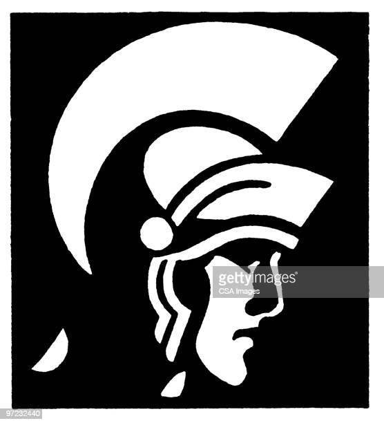 roman warrior - army helmet stock illustrations