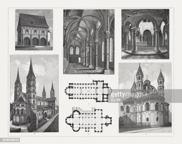 Arquitectura románica (Alemania), grabados en madera, publicado en 1897