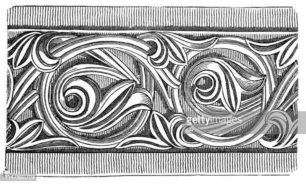 romanesque frieze - carving craft product stock illustrations