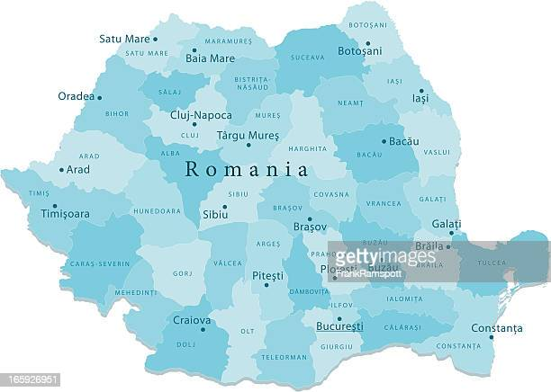 Romania Vector Map Regions Isolated