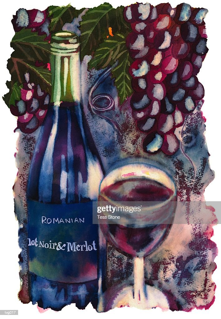 Romanian Red Wine : Stockillustraties