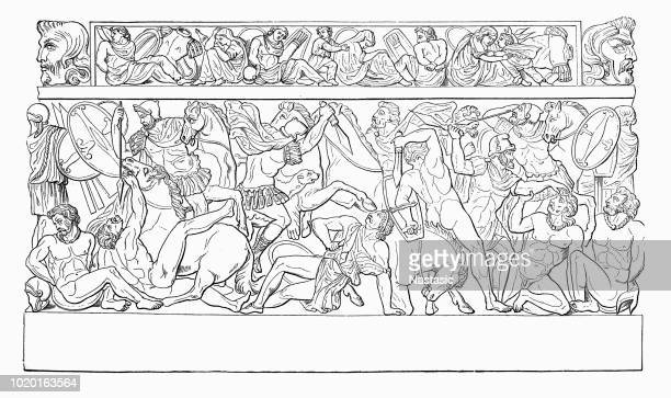 romans and marcomans fighting - bas relief stock illustrations