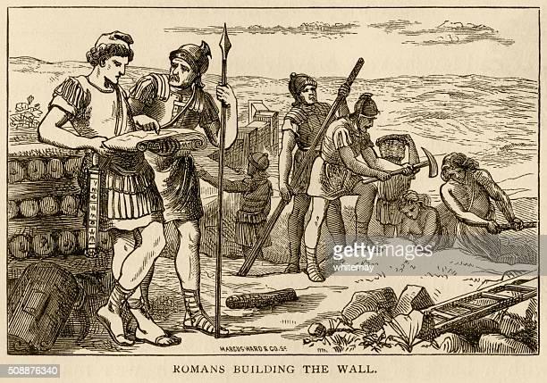 romans building hadrian's wall - northeastern england stock illustrations, clip art, cartoons, & icons