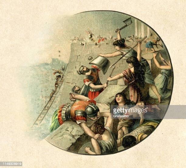 romans conquering carthage in 146 bc - tunis stock illustrations