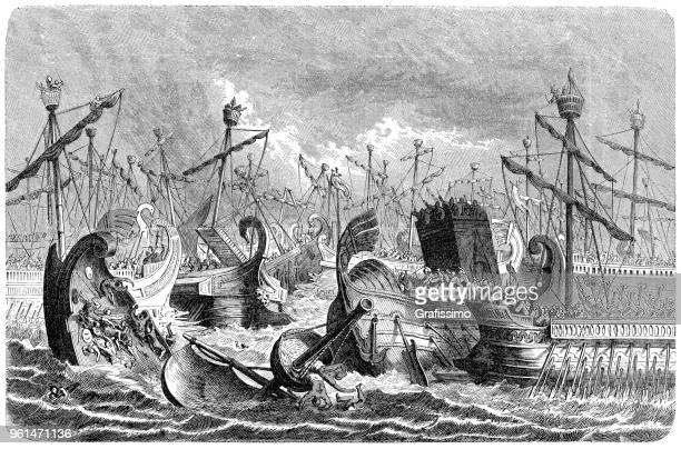 ilustrações, clipart, desenhos animados e ícones de romanos, derrotando a frota púnica perto das ilhas égadi - roman
